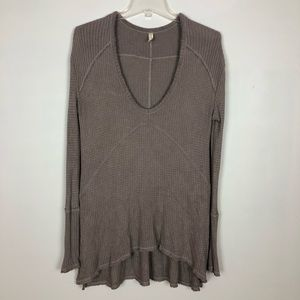 Free People Womens Thermal Top Stone XS